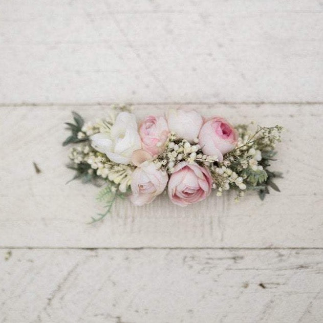 Flower peony hair comb Floral cream pink fairy hair flowers wedding comb bridal hair fashion accessories barn wedding woodland style