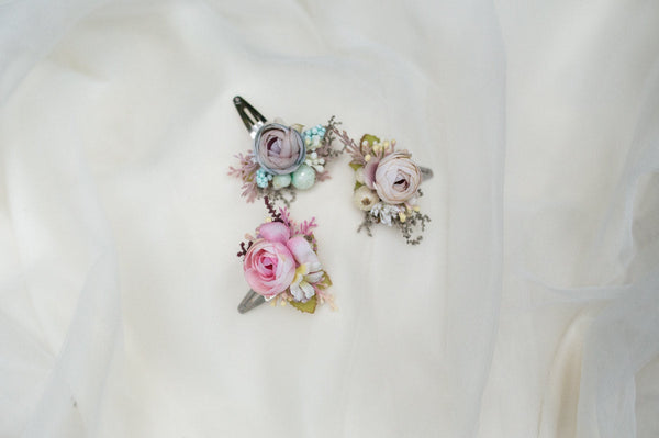 Flower hair clip Pastel hair clip Colorful hair clip Romantic hairpins Hair accessories