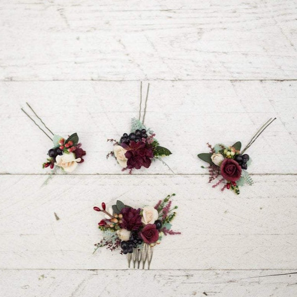 Burgundy flower hairpins Boho hair style rustic flower pin Set of mini comb and hairpins Custom made hair pin hair flowers Marshal burgundy