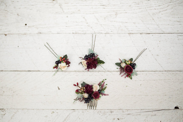 Mini Hair combs floral marshal burgundy flowers wedding comb bridal hair fashion accessories barn wedding woodland style