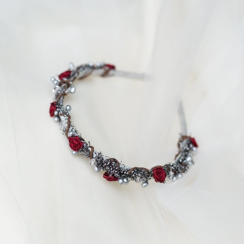 Headband Flower winter headband Headband with mini red roses  Winter collection Hair accessories