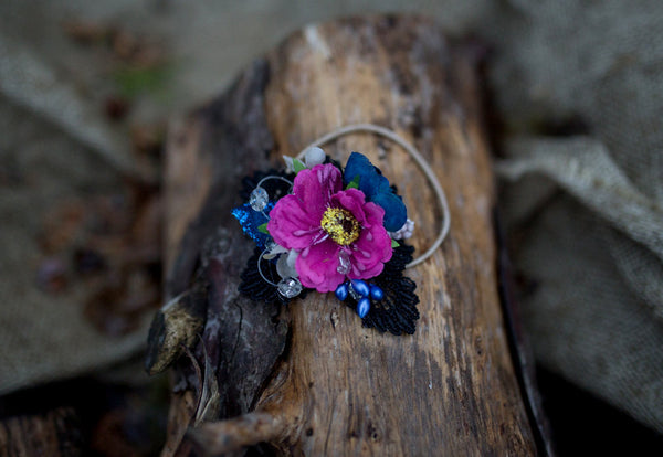 Hair tie with lace Glamour hair tie Violet Blue Black Flower hair tie Flower hair accessories Wedding accessories Magaela accessories