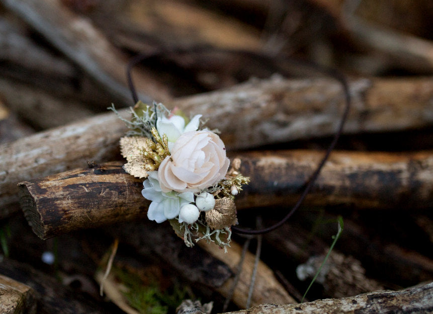 Romantic headband Floral headband Gold Elastic headband Flower headband Vintage headband Retro hair tie Vintage wedding Bridal hairband