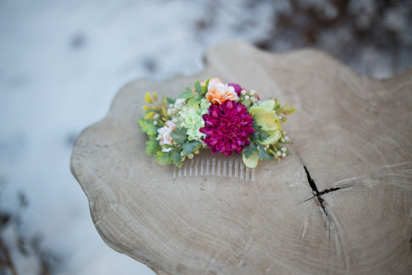 Spring hair comb Flower hair comb Hair comb with dahlia Woodland style Wedding hair comb Flower hair comb Bridal hair fashion accessories