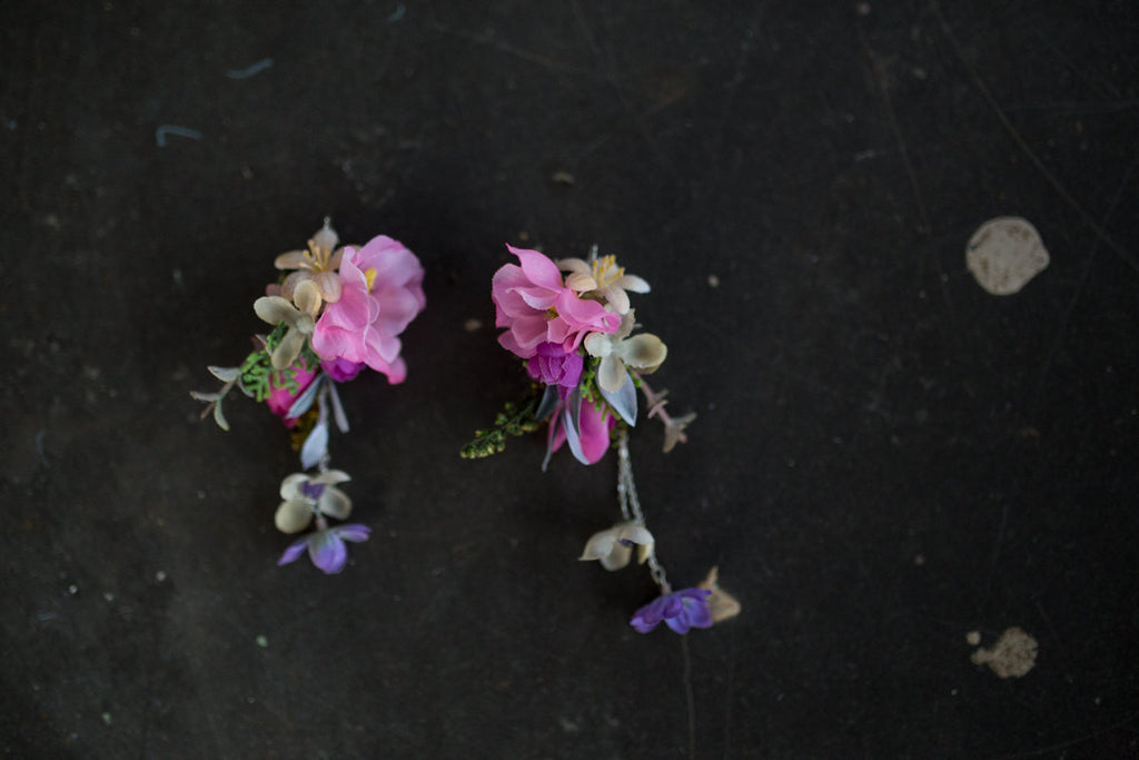 Flower earrings Romantic long earrings Floral earrings Hippies Boho style Wedding jewellery Wedding accessories Magaela jewellery