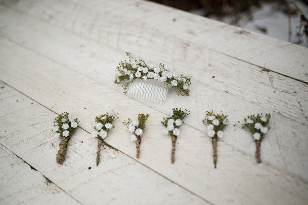 Romantic boutonniere Wedding groomsmen boutonniere Baby's breath Handmade boutonniere for witnesses Wedding accessories Magaela accessories