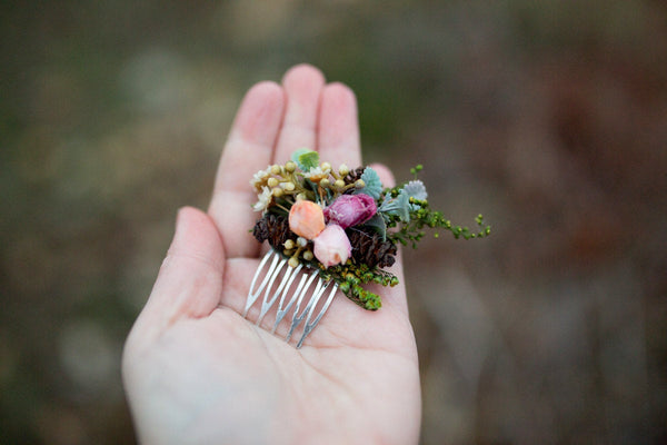 Woodland mini hair comb Natur style Wedding hair comb Flower hair comb Mini hair comb Bridal hair fashion accessories