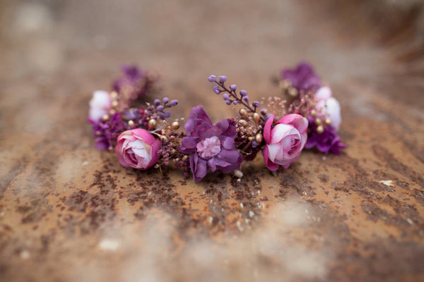 Bridal half wreath Flower headband Pink and violet Flower crown Wedding hair wreath Half wreath for bride Wedding hair accessories