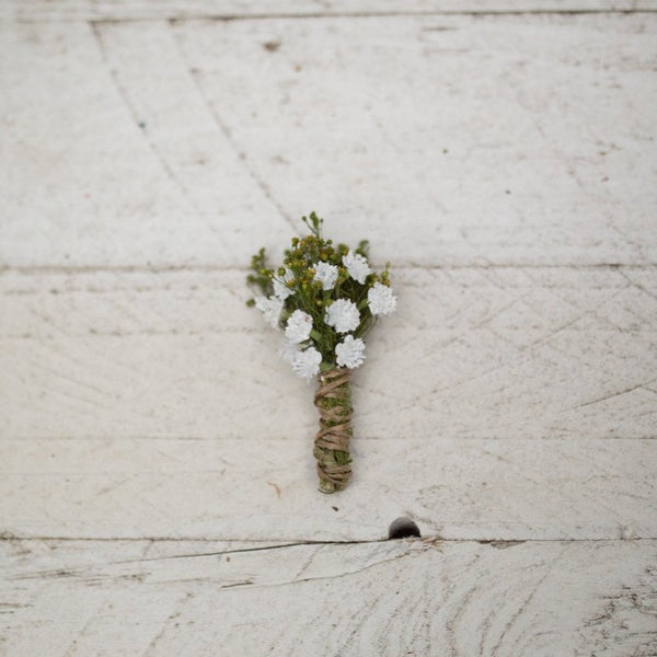 Romantic boutonniere Greenery with baby's breath buttonhole White handmade groom's boutonniere Wedding accessories Magaela accessories