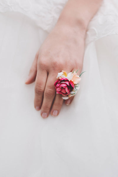 Flower ring Floral ring Handmade jewelry Wedding floral accessories Ring