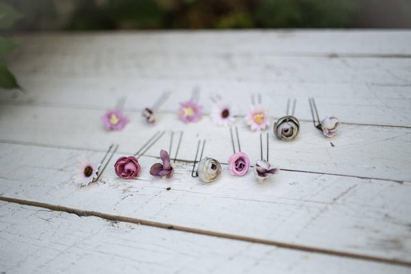 Peony single flower hair pins Wedding floral accessories Pink bridal hair pins Peach wedding accessories