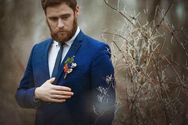 Folk flower boutonniere Wedding boutonniere Accessories for groom Romantic boutonniere Handmade groom's boutonniere Wedding accessories