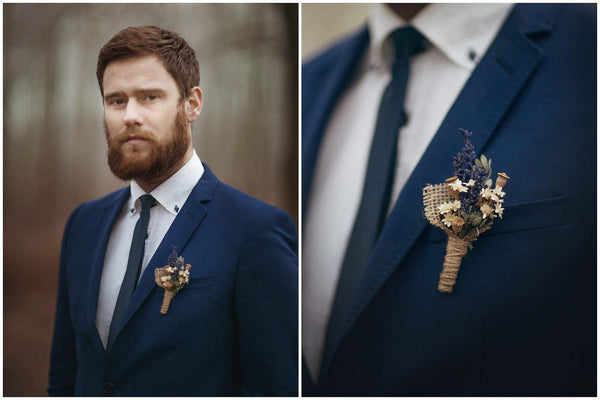 Provence flower boutonniere with levander and mini poppyheads Accessories for groom Handmade groom boutonniere Wedding accessories