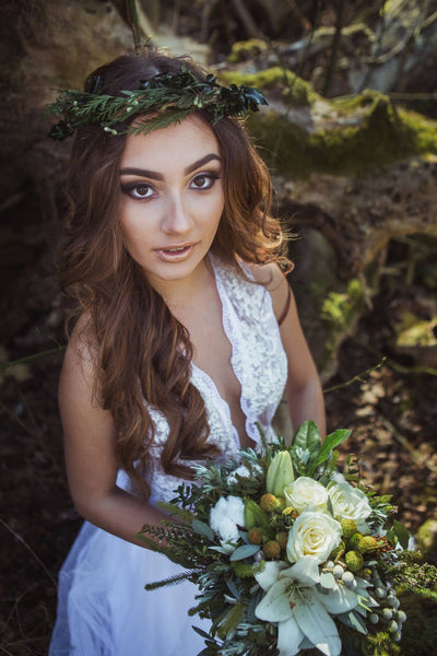 Natur wreath Greenery hair wreath Bridal hair wreath Hair wreath with needles and leaves Hair accessories Flower crown