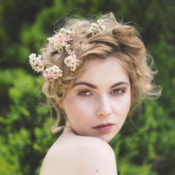 Romantic dried flower hairpins Baby's breath Set of Hairpins from dried flowers Wedding floral accessories Blush and ivory hair pins Magaela accessories