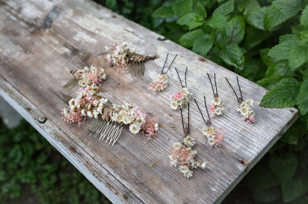 Romantic hairpins Flower hairpins Hairpins from dried flowers Wedding floral accessories Blush and ivory hair pins Magaela accessories