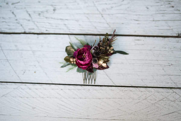 Set of hair accessories SetB of mini haircomb and three hairpins Boho hair style Rustic style With gold details
