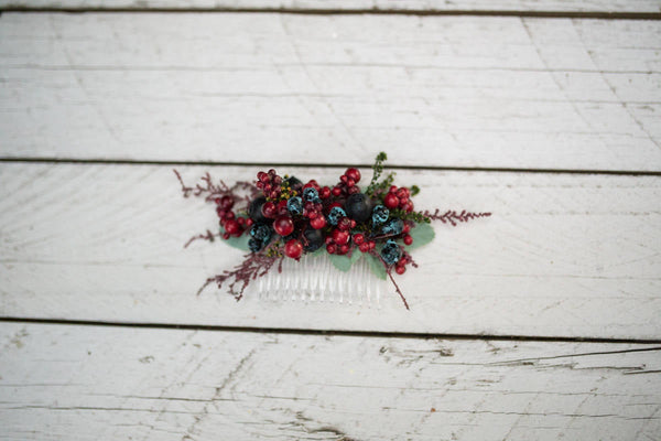Woodland hair comb Hair comb with forest fruits Hair comb with berries Wedding comb in woodland style Bridal hair fashion accessories