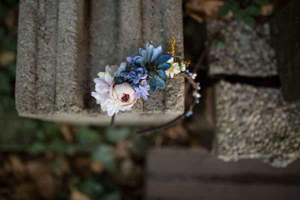 Flower headband Blue-white combination Romantic headband for woman or girl Floral headband Wedding headband Headband for bride