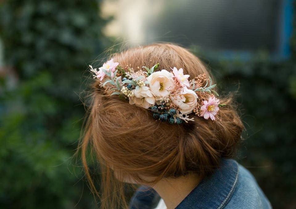 Romantic hair comb Flower handmade comb with blueberries Wedding hair comb Bridal hair comb Hairstyle Bridal hair fashion accessories