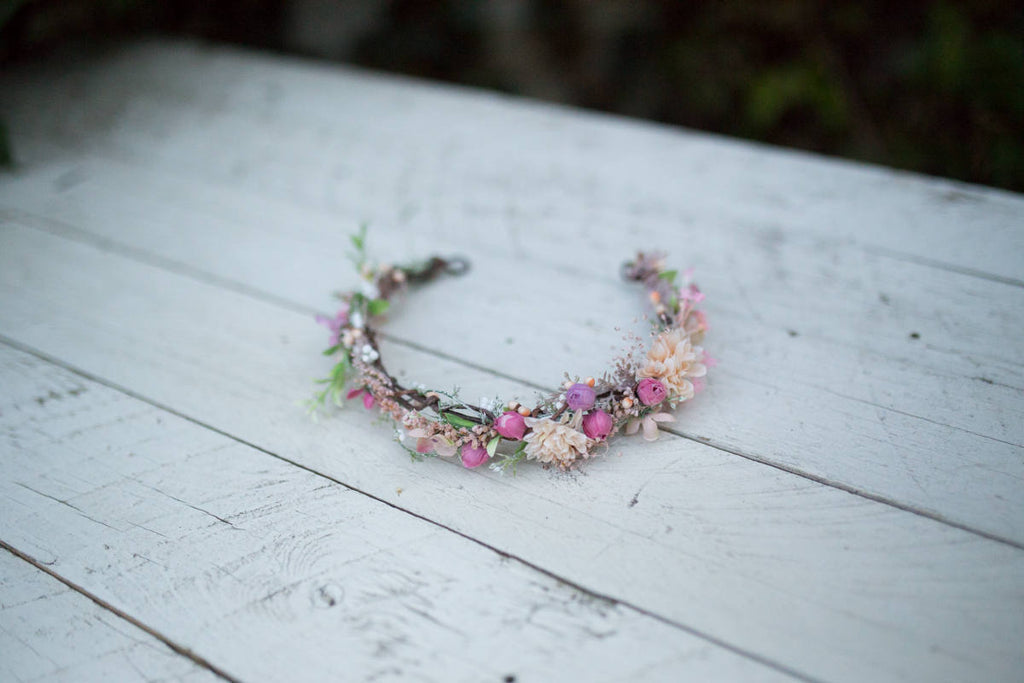 Romantic half wreath Flower hair wreath Handmade hair wreath  Floral half wreath Floral headband  Hair jewellery