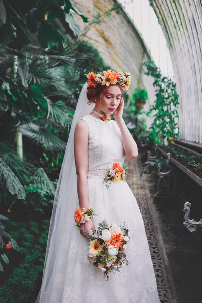 Summer wedding belt Bridal accessories Orange flower belt with gerbera Floral belt on satin ribbon  Wedding accessories Belt on dress