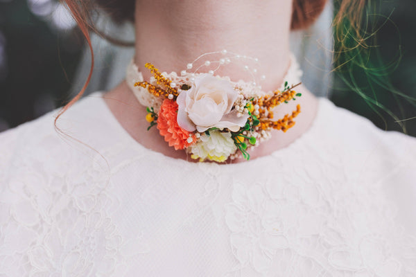 Wedding necklace Summer flower neklace Choker Floral necklace in orange color Handmade necklace Necklace with lace Magaela jewellery