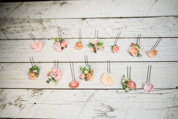 Set of hair accessories Set of hair pins Flower hair set Set with pink-peach-green combination Flower hairpins