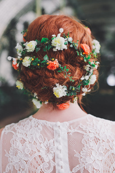 Wedding long wreath Special hair wreath Bridal wreath Flower hair wreath Bridal flower wreath Hair wreath in orange-green combination