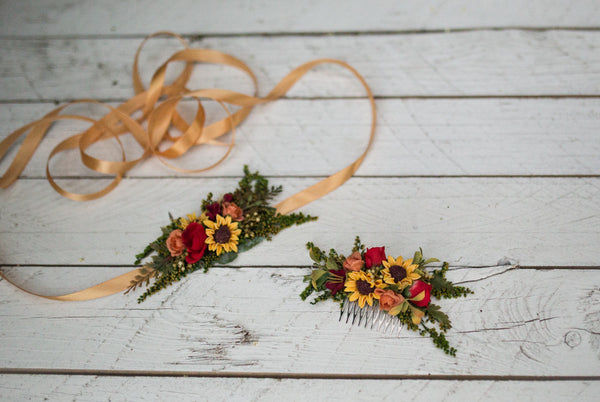 Belt with sunflowers Summer belt Yellow-red-green combination Wedding belt Bridal accessories Floral belt on satin ribbon Belt on dress