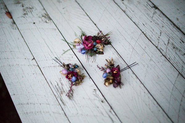 Woodland hair set Set of flower accessories Flower bridal hair comb Hair pins Wedding Flower application Hair jewellery