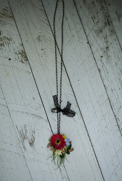 Floral  summer necklace Red necklace with poppy Handmade floral necklace Necklace with chain Retro neklace Magaela jewellery