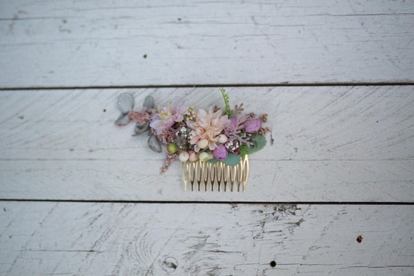 Romantic hair comb Hair comb with pastel colors Hair comb in pastel combination Romantic bridal comb Wedding comb Bridal hair jewellery