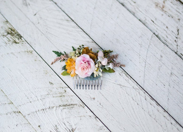 Autumn hair comb Wedding hair comb Gentle autumn colors Romantic hair comb Smaller hair comb Bridal hair jewellery