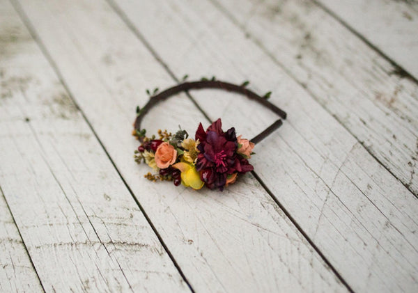 Fall elegant headband Autumn headband Flower headband with rosehips Headband in fall colors Hair accessories Flowers in hair