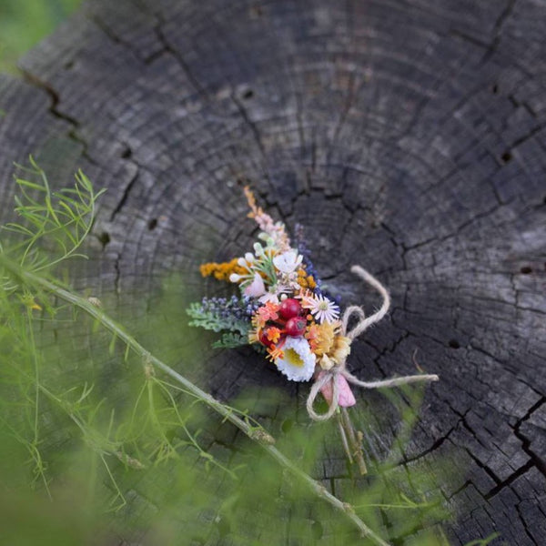 Colorful corsage for groom  Romantic boho boutonniere Wedding buttonhole Meadowy style Corsage from wild flowers Wedding accessories
