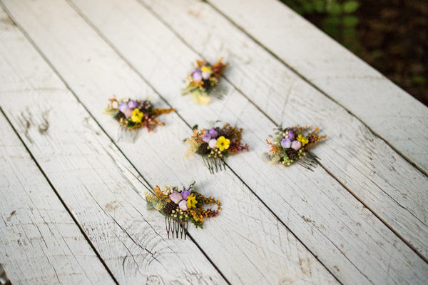 Mini hair comb Autumn hair comb Wedding hair comb Violet-yellow combination Romantic hair comb Smaller hair comb Bridal hair jewellery