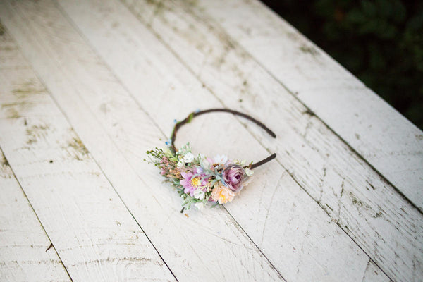 Romantic headband Boho headband Flower headband Pastel colors Magaela accessories Hair accessories
