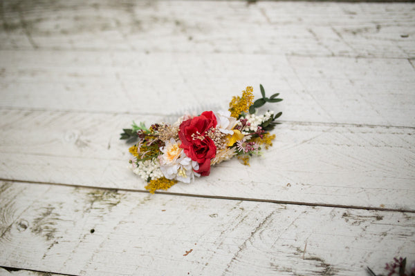 Romantic hair comb Red-yellow hair comb Autumn hair comb Hair comb with flowers and grass Wedding hair comb  Bridal hair jewellery