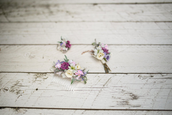 Set of wedding accessories Romantic floral set Flower bridal hair comb Corsage for groom Romantic flower ring