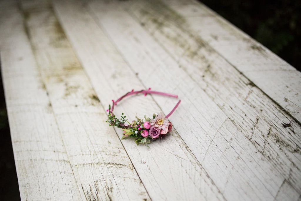 Pink headband Flower headband Romantic headband Flower headband in pink-green combination Hair accessories Flowers in hair