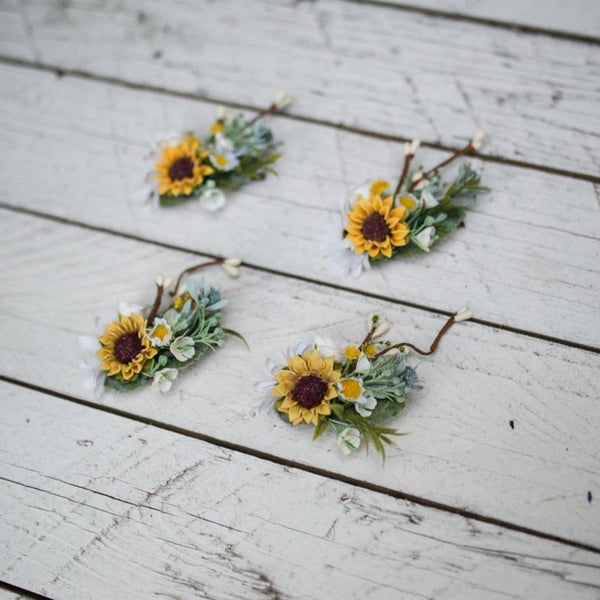Summer hair clip Flower hair clip Hair clip with sunflowers Hair accessories Hair clip in white-yellow combination Magaela accessories