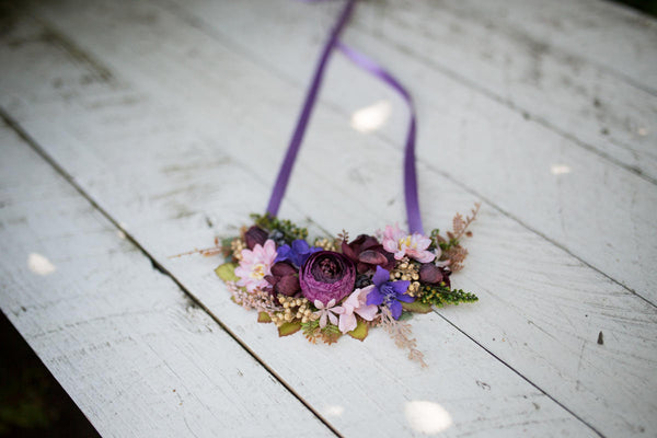 Violet necklace Rich flower necklace Boho necklace Handmade neklace Necklace with satin ribbon Magaela jewellery