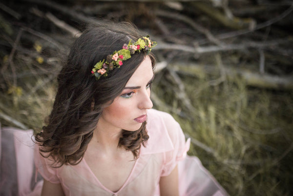Greenery headband Flower headband Headband with pine cones and succulents Bridal headband Hair accessories Flowers in hair