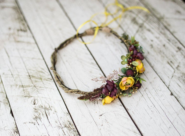 Autumn hair wreath Flower woodland wreath Wreath with forest fruits Yellow flowers Wedding hair accessories