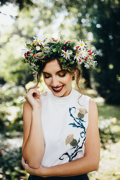 Boho hair wreath Meadowy hair crown Flower hair wreath Hair wreath with poppy and daisy Bridal flower hair wreath Handmade acessories