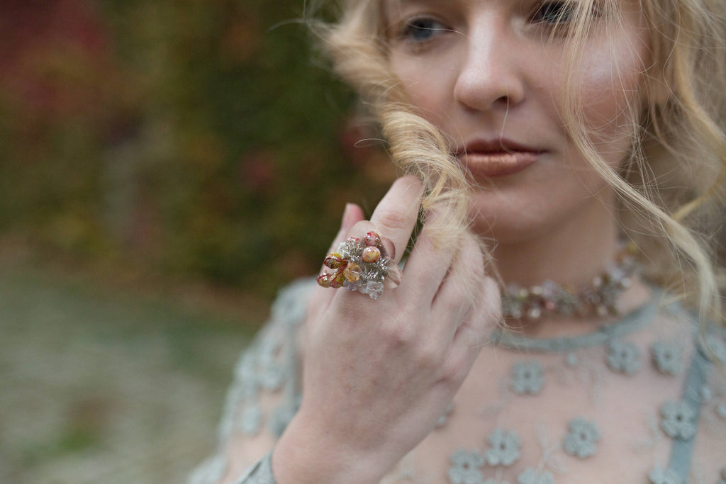 Winter ring Romantic ring Glamour ring Ring with pearls Handmade jewelry Wedding floral accessories Ring