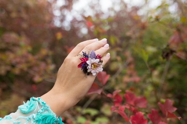 Romantic ring Flower ring with berries Big ring Floral ring Handmade jewelry Wedding floral accessories Ring