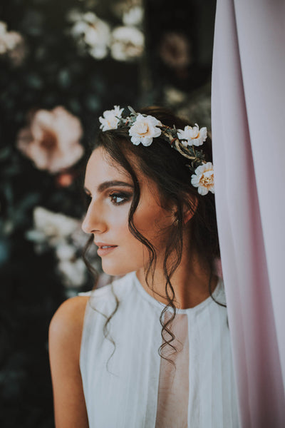 Wedding crown Bridal half wreath Romantic half wreath Flower hair wreath Floral half wreath Floral headband  Hair jewellery