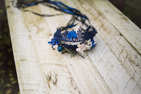 Oriental hair accessories Bridal hair wreath Wedding wreath Blue hair wreath Flower hair wreath Bridal hair crown Wedding headband Handmade